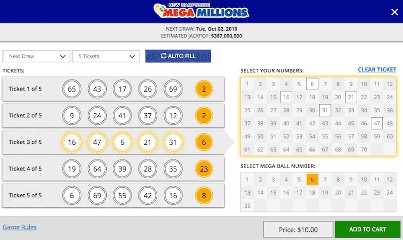NH Lottery Mega Millions